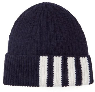 Thom Browne Four Bar-jacquard Wool Hat - Mens - Navy