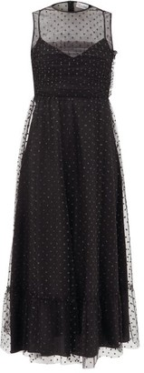 RED Valentino Glitter Polka-dot Tulle Midi Dress - Womens - Black