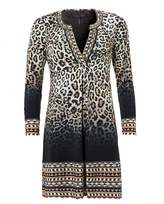 Hale Bob Womens Jersey Dress, Bermai Beaded Animal Print Brown Dress