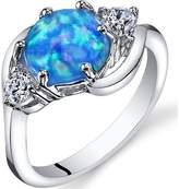 Ice 1 1/4 CT TW Lab-Created Blue Opal Sterling Silver Fashion Ring with CZ Accents