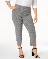 Alfani Plus Size Cropped Jacquard Pants, Created for Macy's