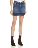 Mother Undone Hem Denim Mini Skirt in Dark Graffiti