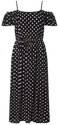 M&Co Roman Originals polka dot cold shoulder dress
