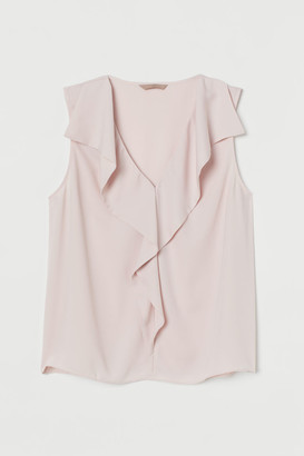 H&M H&M+ Flounced Satin Blouse - Pink