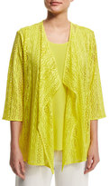 Caroline Rose Siesta Mesh Mid-Length Cardigan, Yellow, Plus Size