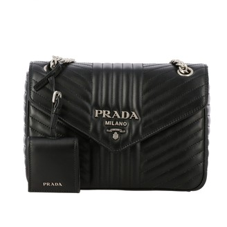 Prada Diagramme Bag In Genuine Quilted Leather