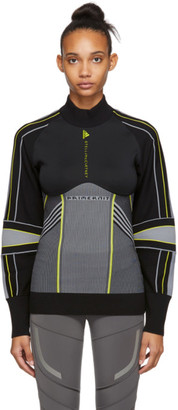 adidas by Stella McCartney Black and Grey Run Outdoor Midlayer Sweater