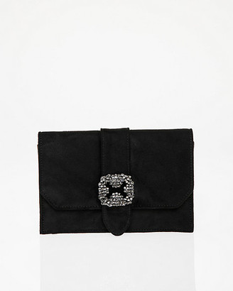 Le Château Brooch Embellished Flapover Clutch