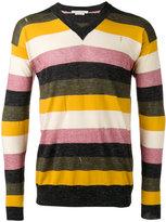 Marc Jacobs striped v-neck sweater - men - Silk/Cotton/Linen/Flax/Wool - S