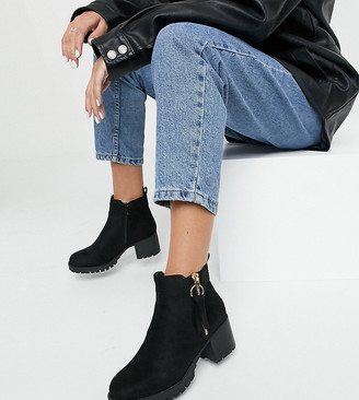 Simply Be heeled boots with cleated sole in black