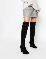 Oasis Over the Knee Heeled Boots with Lace Up Detail