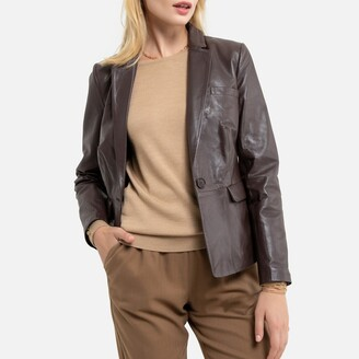 Anne Weyburn Leather Fitted Jacket