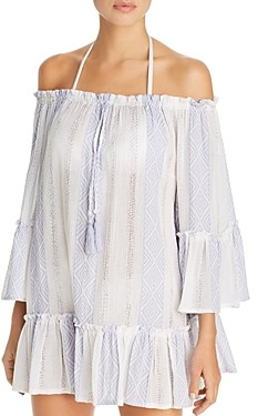 Surf.Gypsy Woven Stripe Off-the-Shoulder Tunic Swim Cover-Up