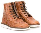 Pépé brogue detailing boots - kids - Calf Leather/Leather/rubber - 25