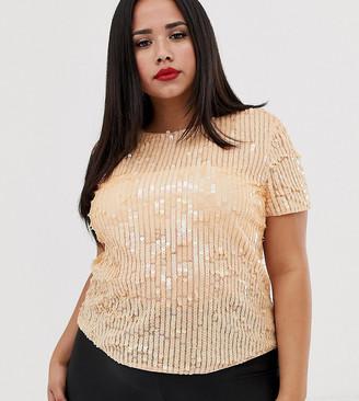 Asos DESIGN Curve t-shirt with sequin embellishment-Orange