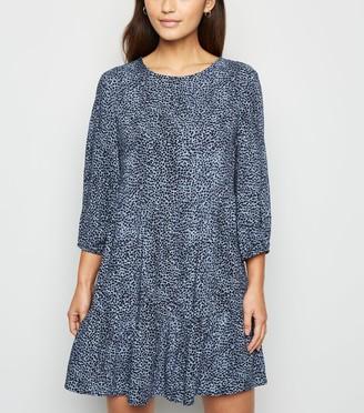 New Look Petite Animal Print Tiered Smock Mini Dress