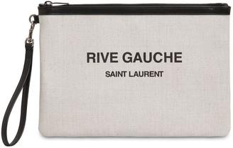 Saint Laurent Printed Canvas Beach Pouch