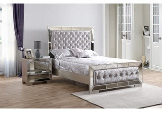 Glory Furniture Hollywood Hills Velvet Tufted Bed