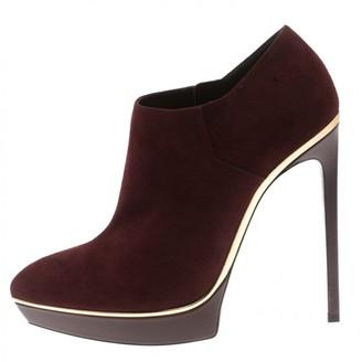 Saint Laurent Burgundy Suede Ankle boots