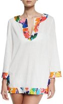 Milly Crinkle Cotton Coverup Tunic w/Banana Leaf Trim
