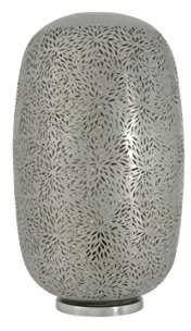 New Buyer Bazaar Morrocan Grey Desk Decorative Capsule Lamp, Handmade Indoor Table Light in Rice Etching, Iron, E27, 40 Watts, LED