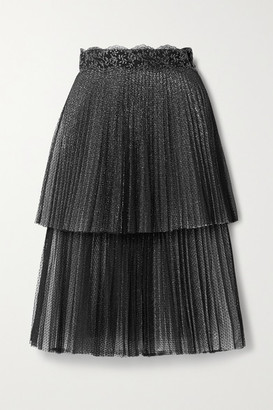 Christopher Kane Lace-trimmed Pleated Layered Point D'esprit Tulle And Metallic Mesh Midi Skirt - Black