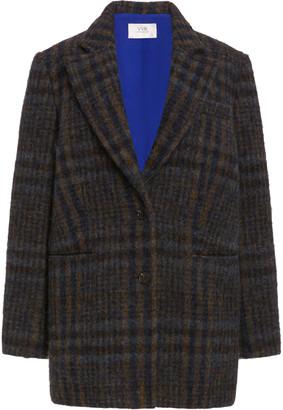 Victoria Victoria Beckham Women's Checked Wool Coat - Brown - Moda Operandi