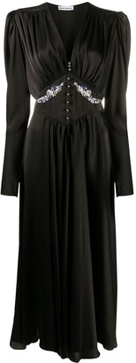 Paco Rabanne Shift Long-Sleeve Midi Dress