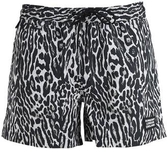 Burberry Leopard Print Nylon Swim Shorts
