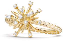 David Yurman 14mm Supernova 18K Gold Ring with Diamonds, Size 7
