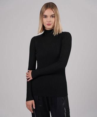 Atm Wool Wide Rib Turtleneck - Black