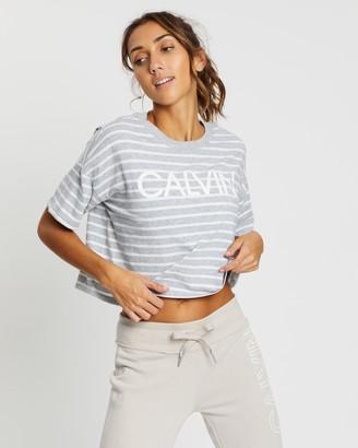 Calvin Klein Calvin Logo Runway Stripe SS Cropped Tee