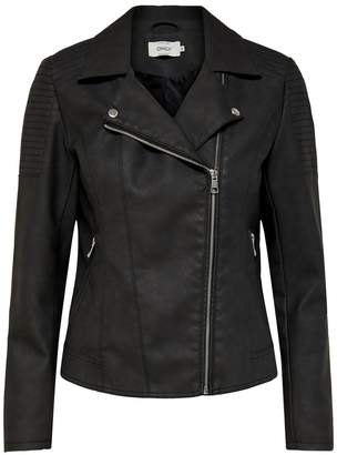 Only Faux Leather Zip-Up Jacket
