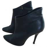 Balmain Green Leather Ankle boots