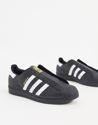adidas laceless Superstar sneakers in black