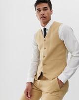 Asos DESIGN wedding super skinny suit vest in stone wool blend micro check