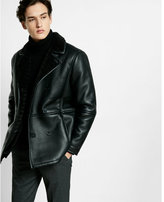 Express faux shearling military peacoat
