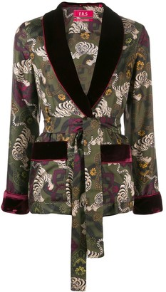 F.R.S For Restless Sleepers Tiger print silk jacket