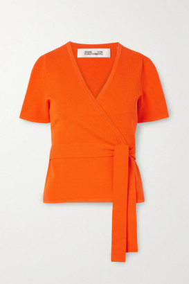 Diane von Furstenberg Mirella Knitted Wrap Top - Bright orange