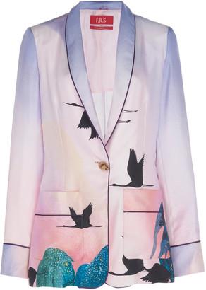 For Restless Sleepers Kakia Printed Silk Pajama Blazer