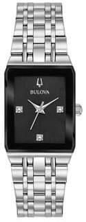 Bulova Quadra Rectangle Stainless Steel & Diamond Bracelet Watch