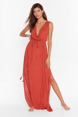 Nasty Gal Womens Plunging V-Neckline Cover-Up Maxi Dress - Burnt Orange