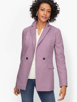 Talbots Double Breasted Houndstooth Blazer