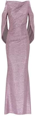 Talbot Runhof Cold-Shoulder Draped Metallic Gown