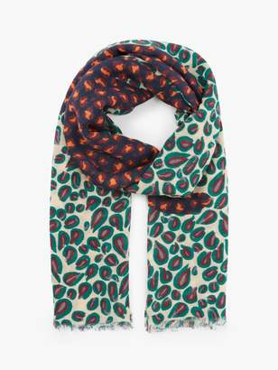 Nice Things Pop Leopard Print Scarf, Ecru/Multi