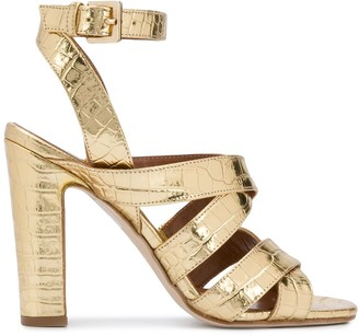 Paris Texas Metallic Crocodile Effect Sandals
