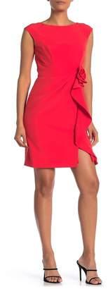 Marina Rosette Ruffled Sleeveless Sheath Dress