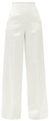 Roland Mouret Ward High-rise Satin Wide-leg Trousers - Womens - White