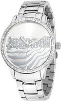 Just Cavalli Women's R7253127509 Huge Round Stainless Steel Silver Sunray Dial Swarovski Crystal Watch