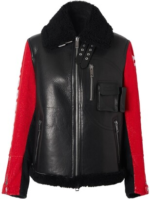 Burberry Contrast-Sleeve Aviator Jacket
